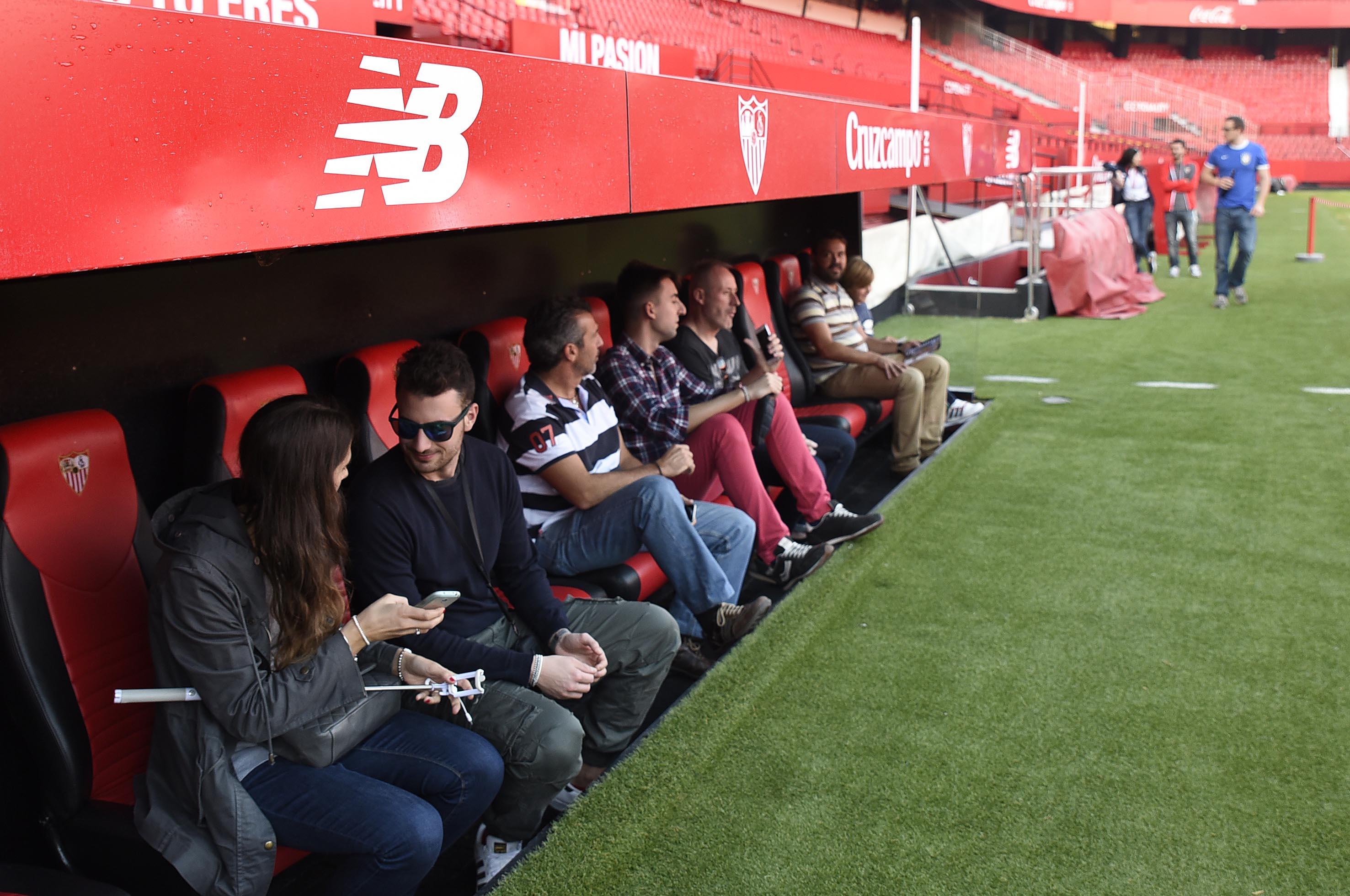 Banquillo del Sevilla FC, un espacio del tour por el estadio