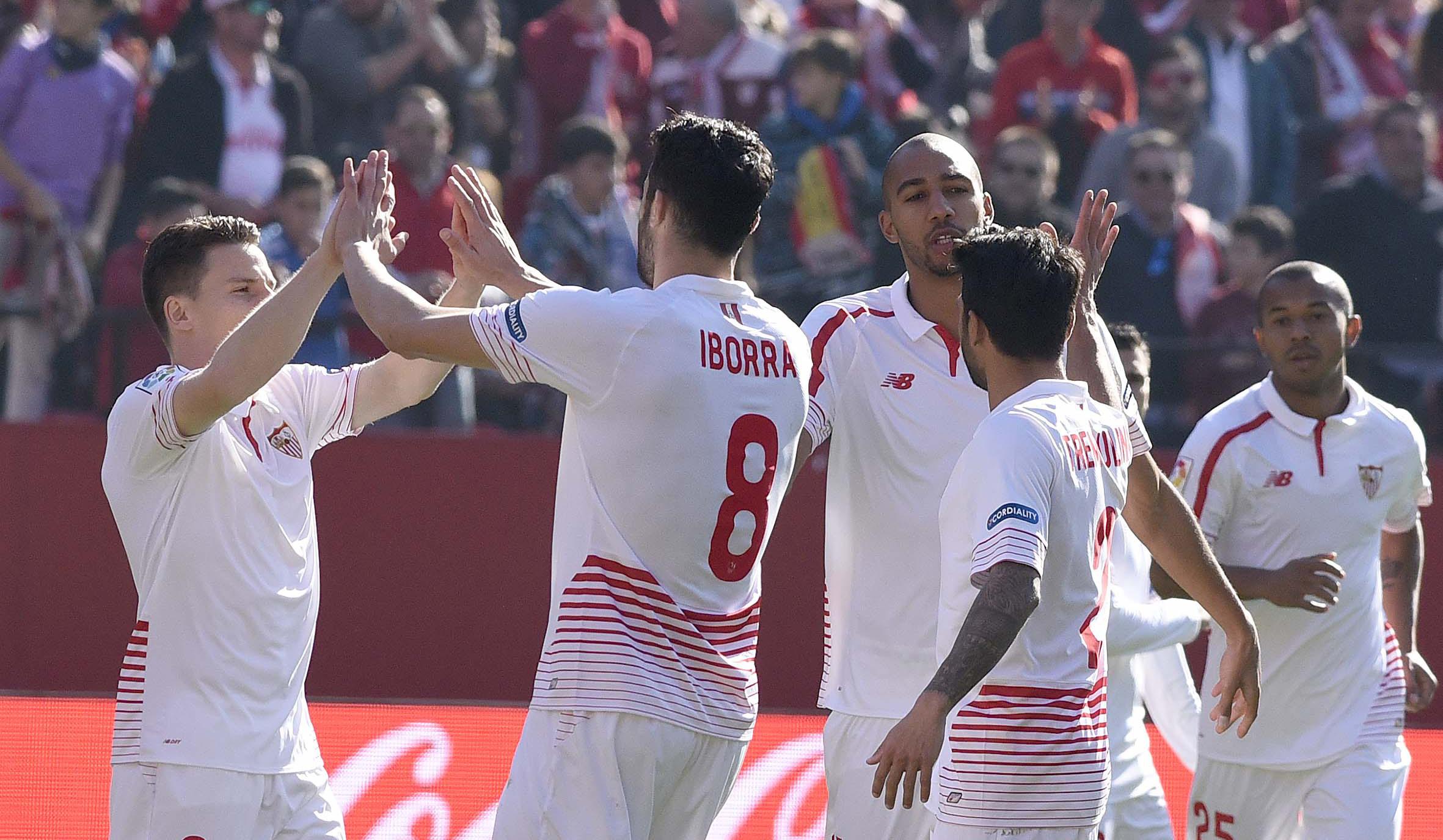 Celebración 1-0 en el Sevilla FC-Levante UD