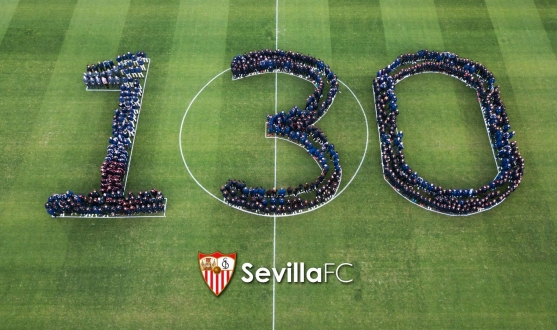 Every Sevilla FC team make the '130' on the pitch