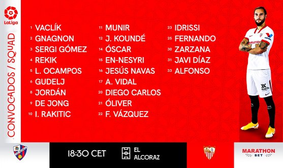 Squad for SD Huesca vs Sevilla FC