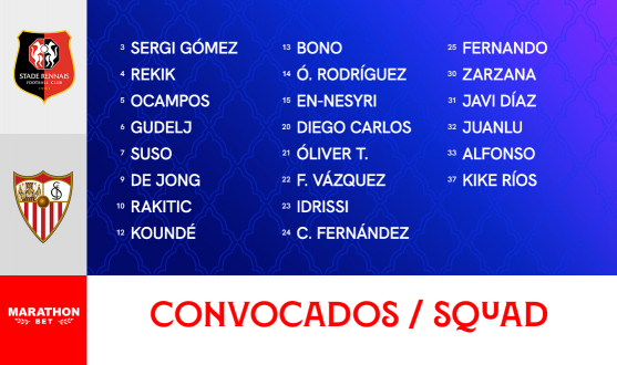 Squad to face Rennes