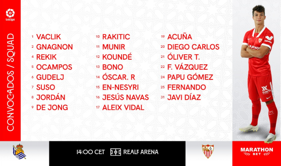 Sevilla FC squad for Real Sociedad