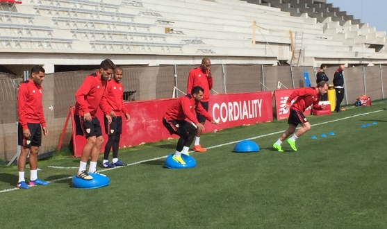 Players take part in a session at the training ground