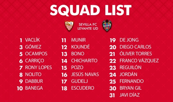 Squad for the match against Levante UD