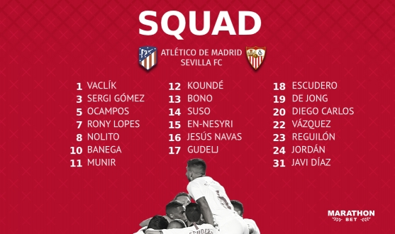 Squad to travel to face Atlético de Madrid