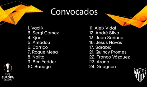 Players called up for the match against Standard