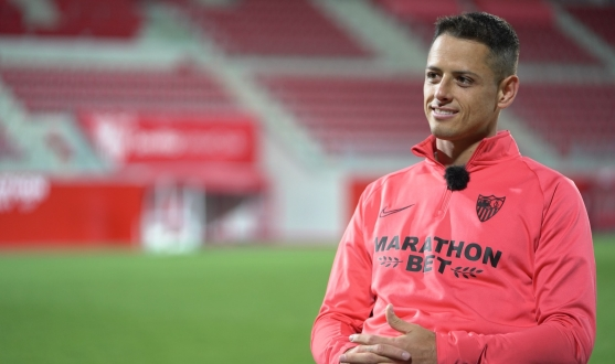 Chicharito during an interview for Sevilla FC