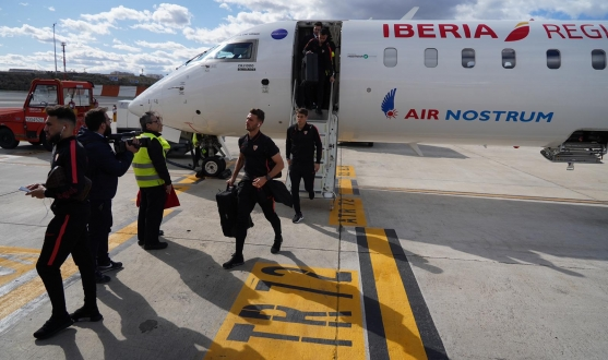 Sevilla FC arriving in Madrid for the Atlético clash tomorrow