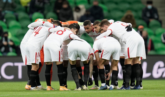 Sevilla FC before the game against FC Krasnodar