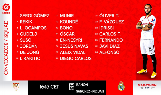 Squad to face Real Madrid CF