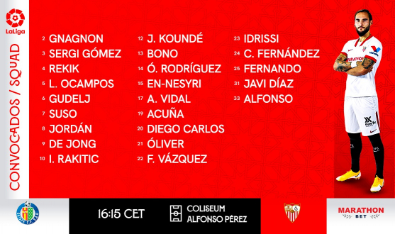 Squad to face Getafe