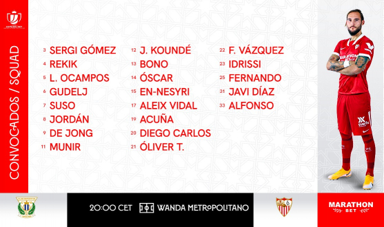 Squad list for CD Leganés-Sevilla FC