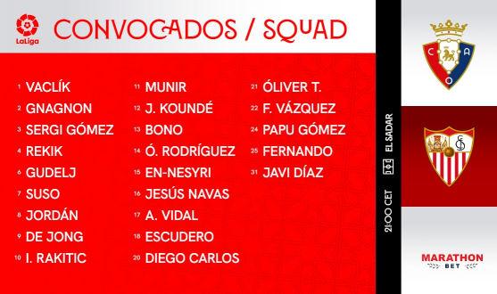Squad for CA Osasuna vs Sevilla FC