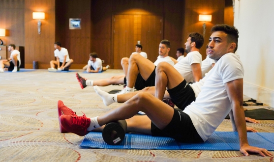 Munir during the warm up session in Baku
