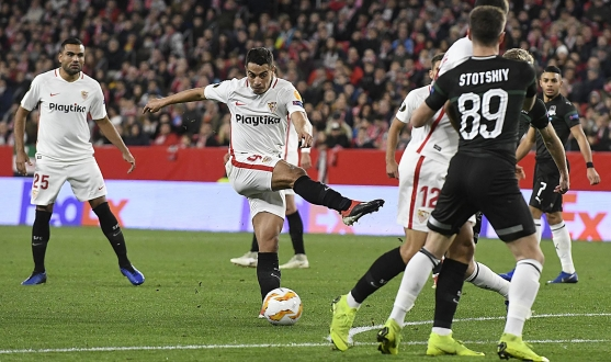 Wissam Ben Yedder of Sevilla FC against Krasnodar