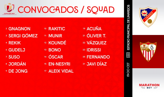 Squad for the cup match against Linares Deportivo