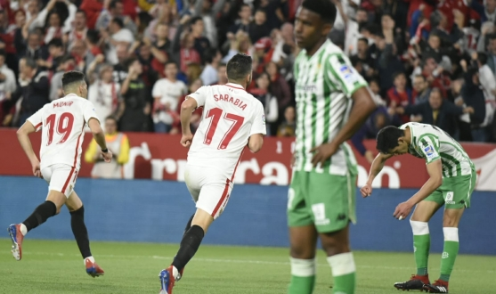 Munir and Sarabia celebrate a goal against Betis