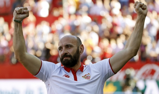 Monchi at his farewell after his first stint as Sporting Director