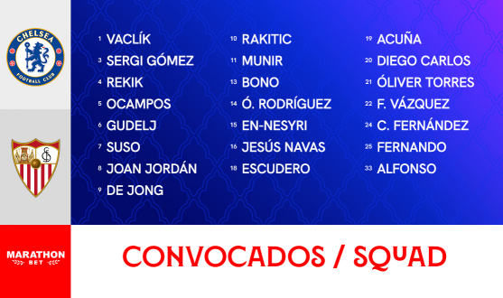 Squad list to face Chelsea FC