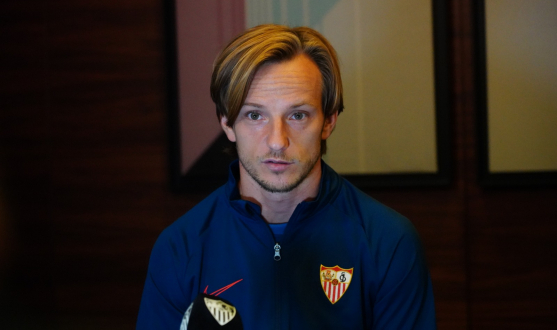Rakitic speaks to the club media in Budapest
