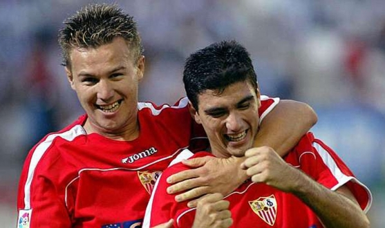 Reyes and Antoñito, teammates and academy products of Sevilla FC