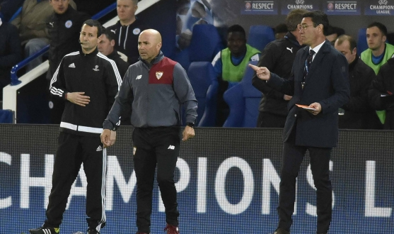 Sampaoli during Leicester-Sevilla FC