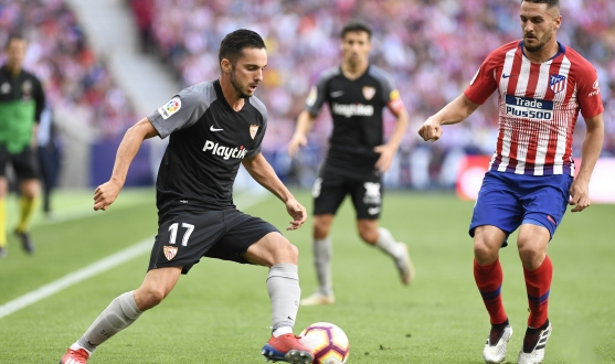 Sarabia of Sevilla FC against Atlético