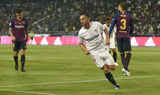 Sarabia of Sevilla FC against FC Barcelona