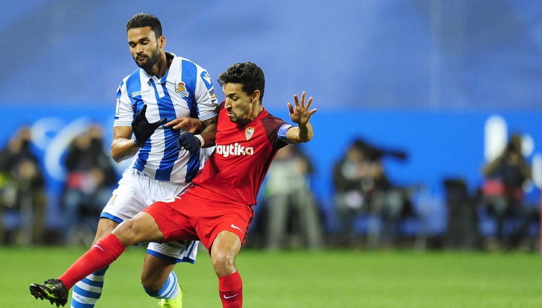 Jesús Navas in action against Real Sociedad