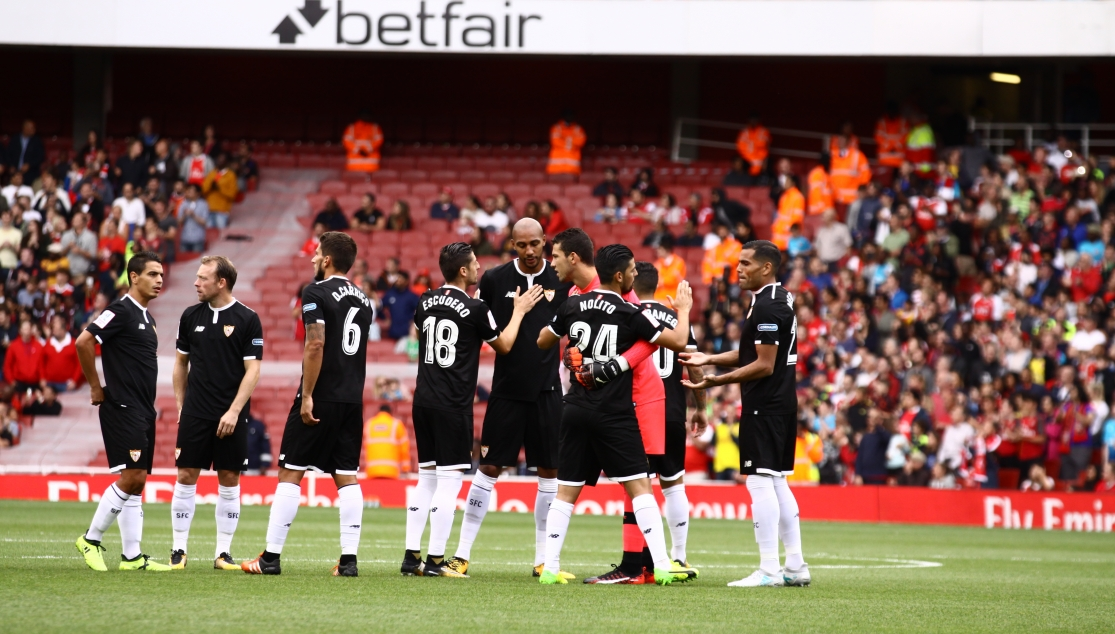 Sevilla FC against Arsenal in the Emirates Cup