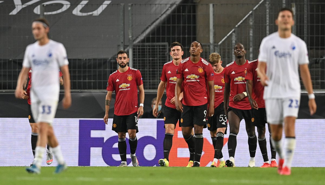 United celebrate against Kobenhavn