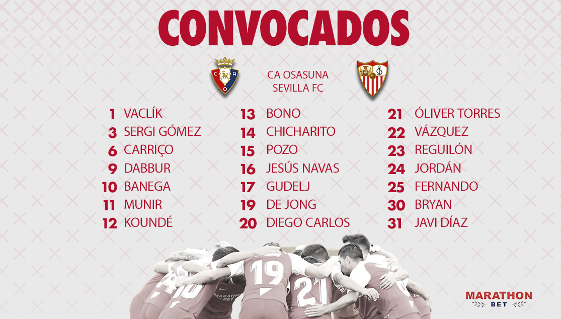 Squad of 21 for CA Osasuna-Sevilla FC