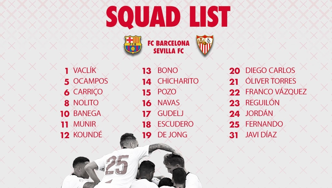 The squad of 21 to take on Barcelona in the Camp Nou