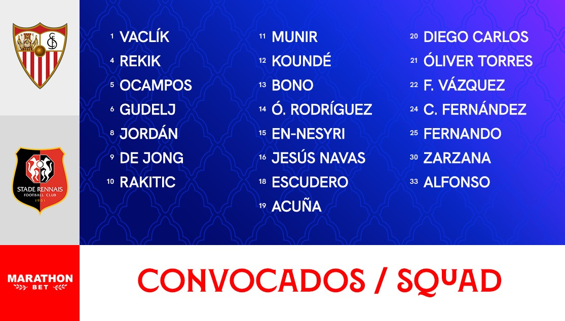 Squad to face Stade Rennais