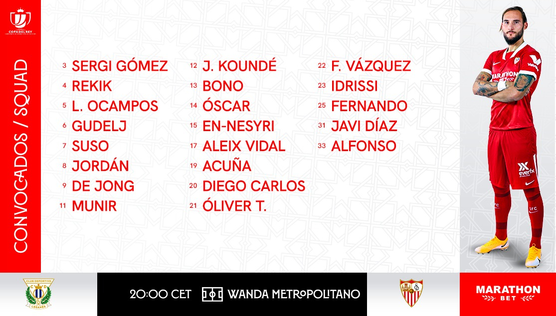 Lista de convocados para el CD Leganés- Sevilla FC