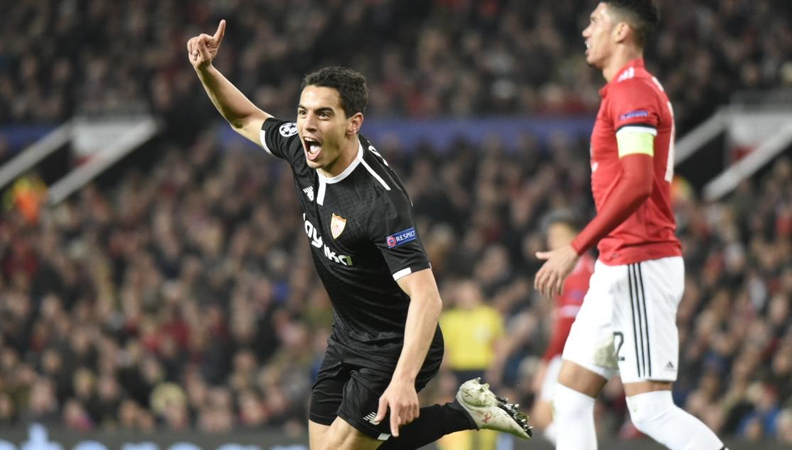Ben Yedder celebra el gol en Manchester