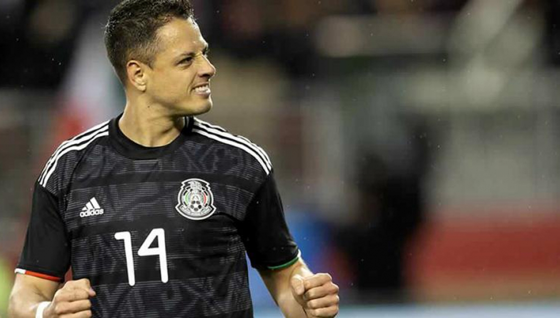 Chicharito celebrates his goal against the United States