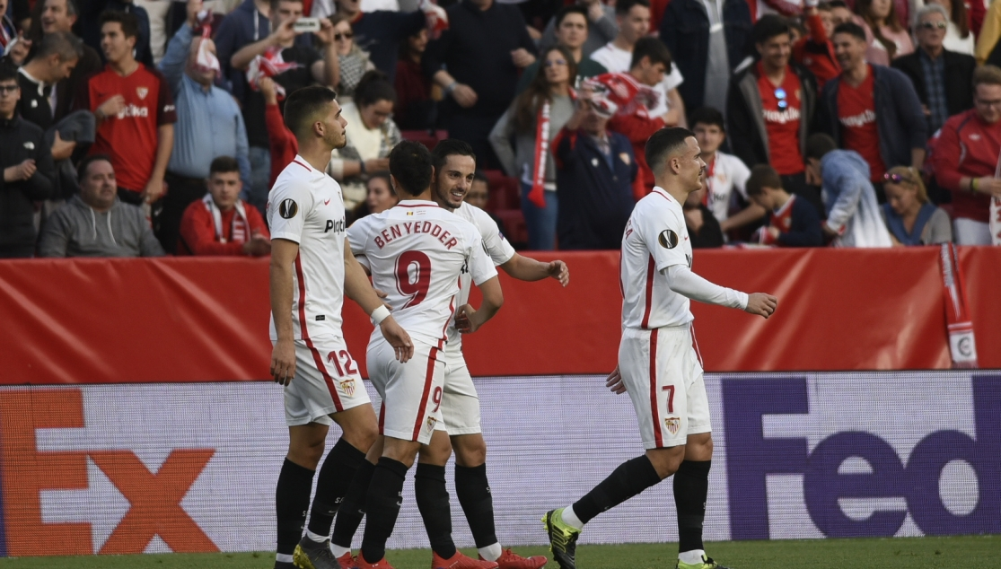 Sarabia and Ben Yedder celebrate a goal against Lazio