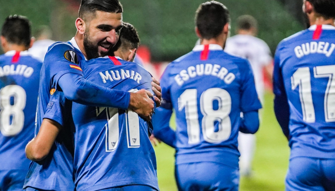 Dabbur and Munir celebrate one of the goals in Luxembourg