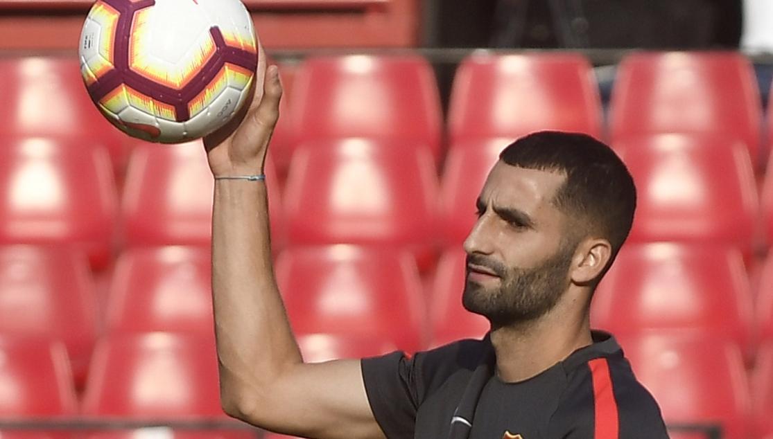 Gonalons del Sevilla FC en un entrenamiento
