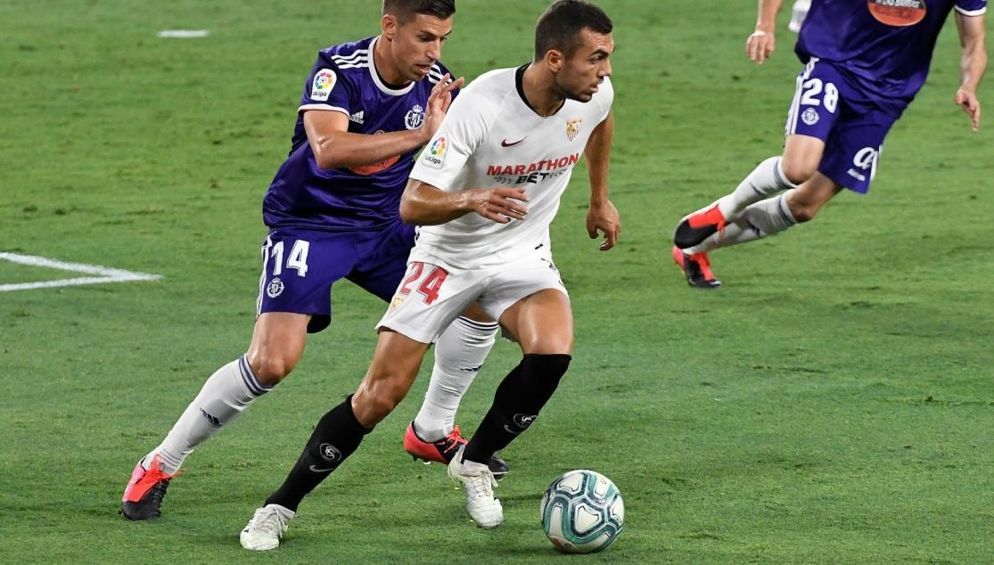 Joan Jordán en el partido ante el Real Valladolid