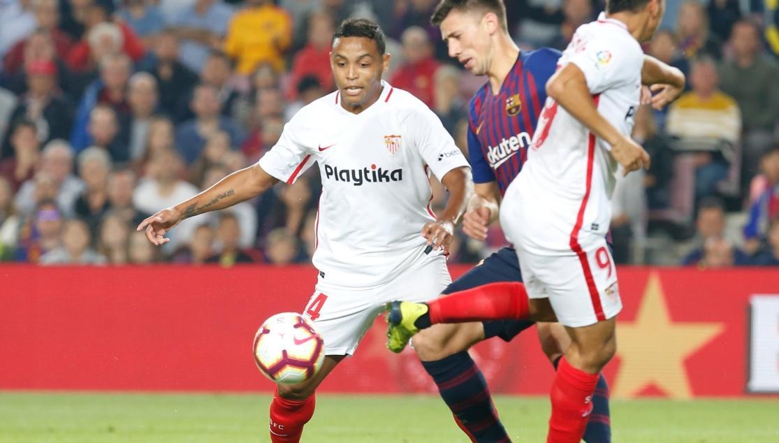 Luis Fernando Muriel, ante el FC Barcelona