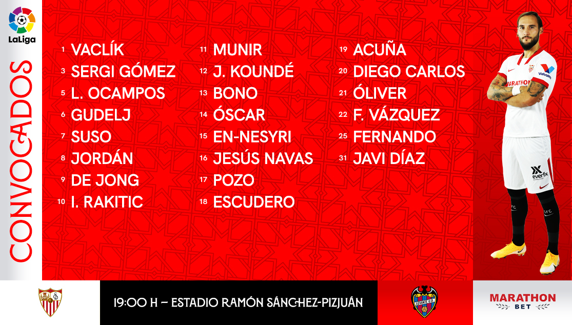 The squad to face Levante UD