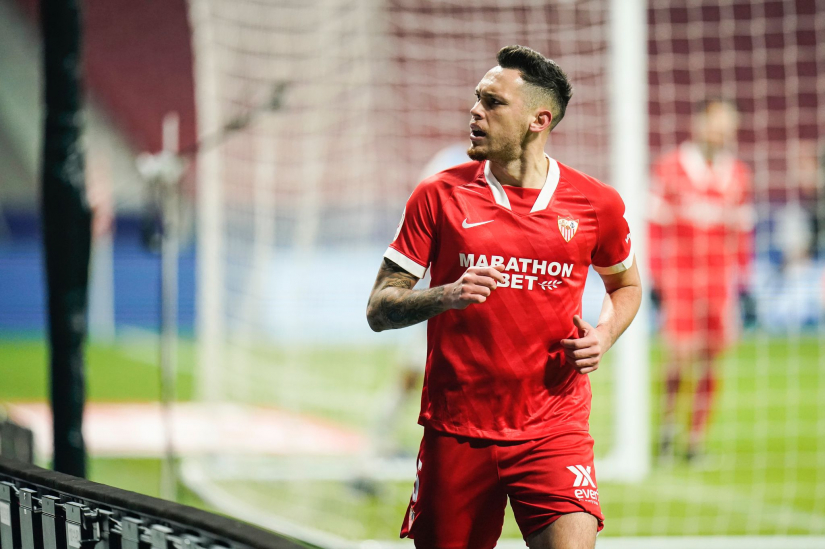 Ocampos celebrates the only goal of the game
