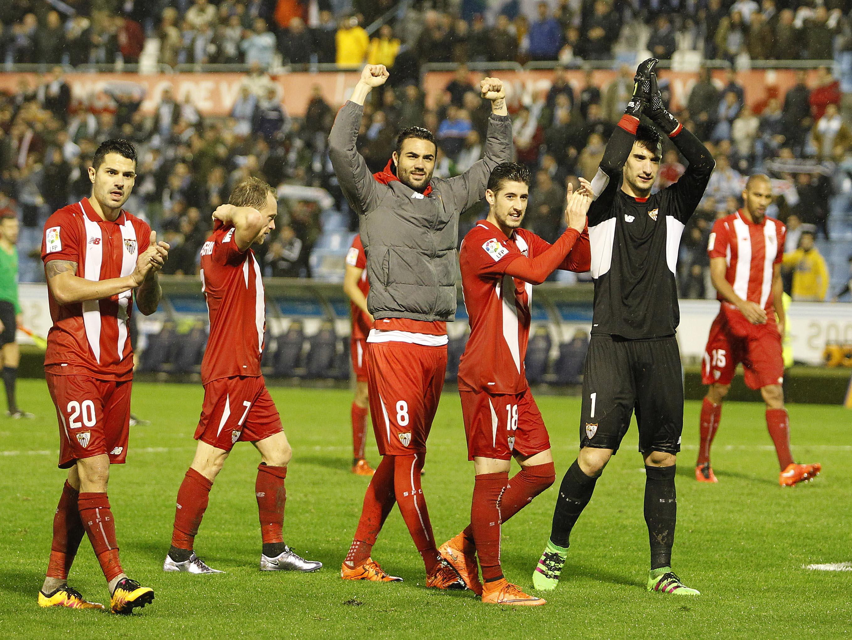 Celebración del pase a la final en el Celta-Sevilla FC